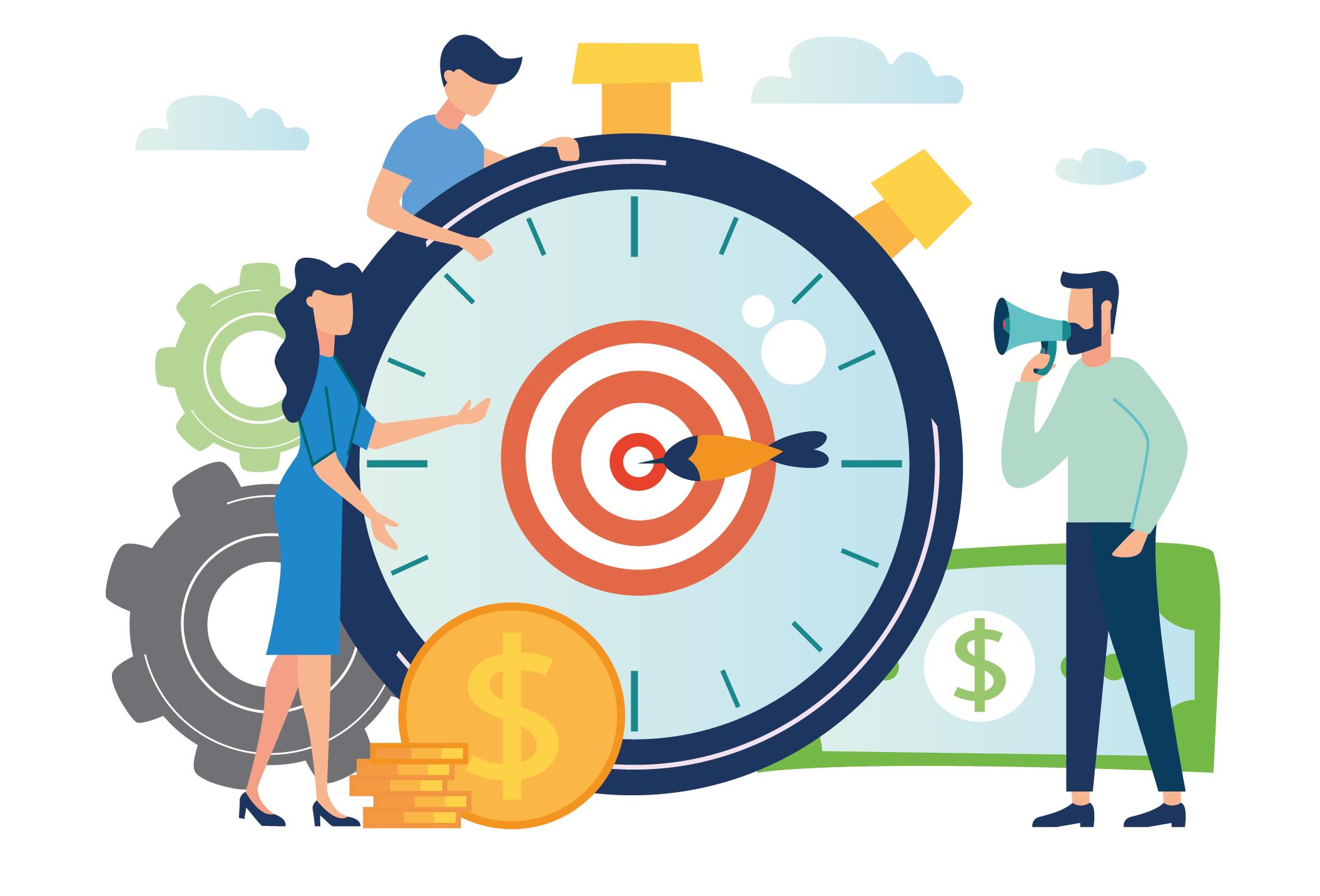 blog image - themed target clock people